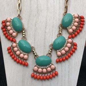 JCrew Chandelier Green &Orange Statement Necklace